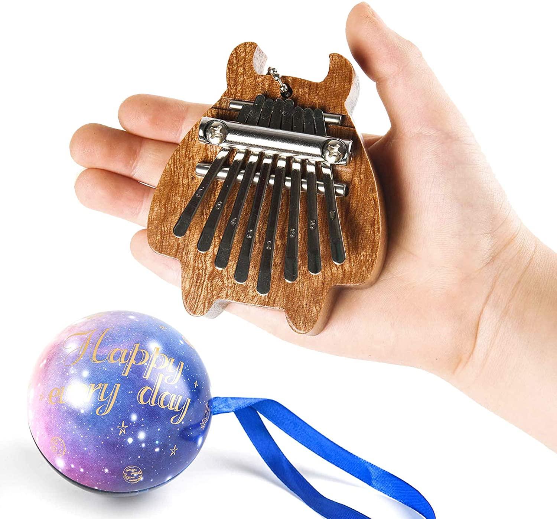 8 Keys Mini Kalimba Finger Thumb Piano Marimba Sanza Pendant Ornament Decoration with Exquisite Ball Hand Size Good Gift For Kids or Kalimba Fans