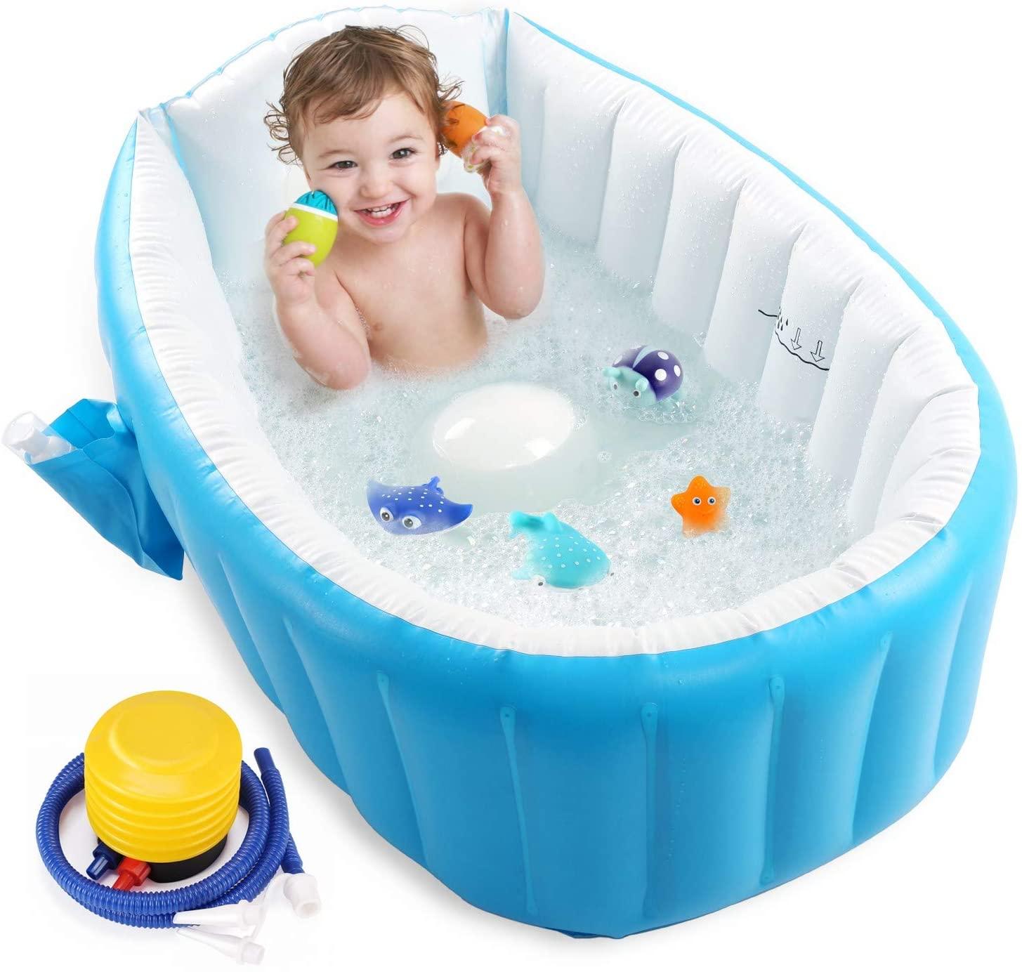 Baby Inflatable Bathtub, Portable Infant Toddler Bathing Tub Non Slip Travel Bathtub Mini Air Swimming Pool Kids Thick Foldable Shower Basin with Air Pump, Blue