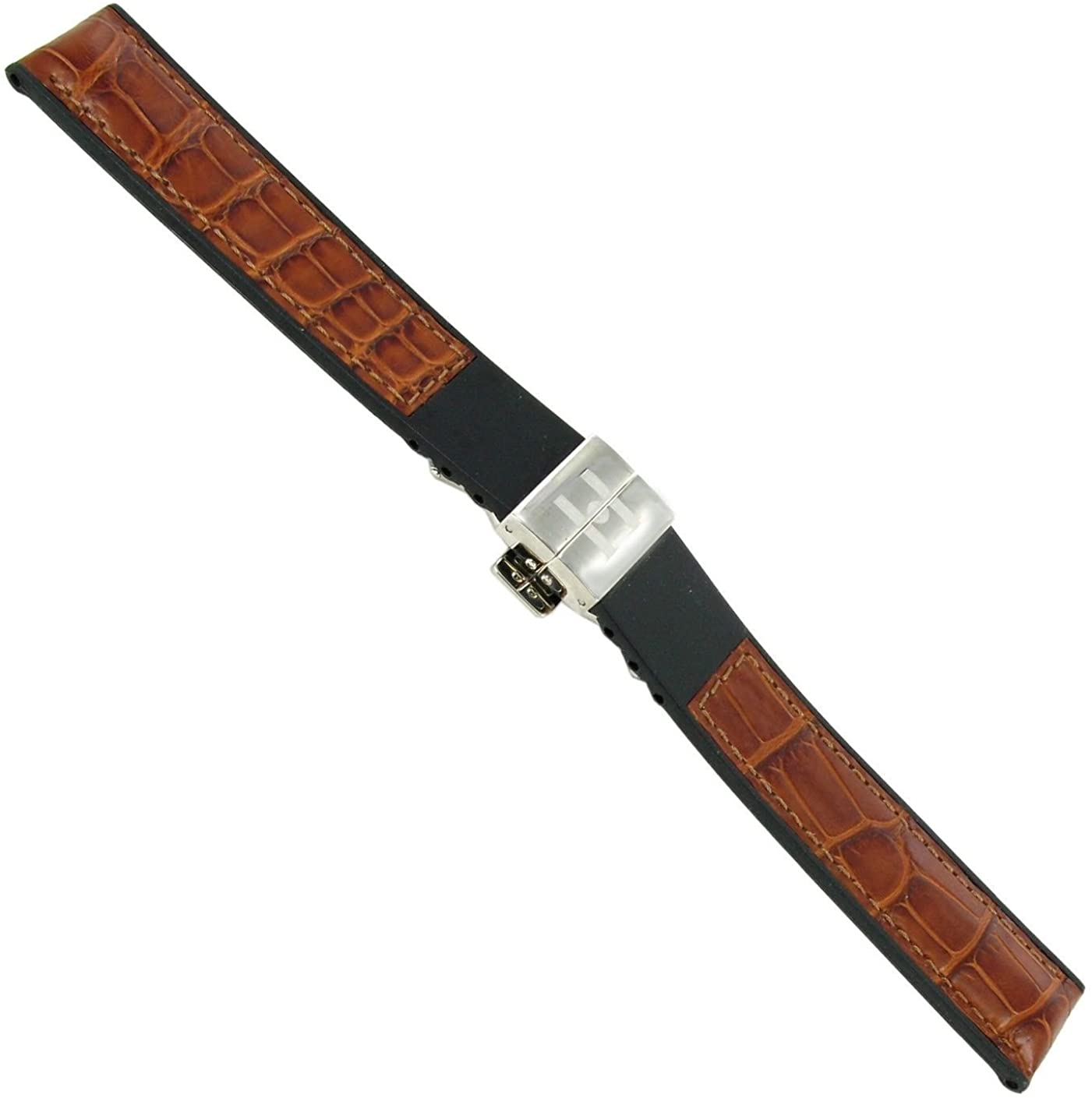 18mm Hirsch Alligator Grain Adjustable Deployment Buckle Medium Brown Watch Band
