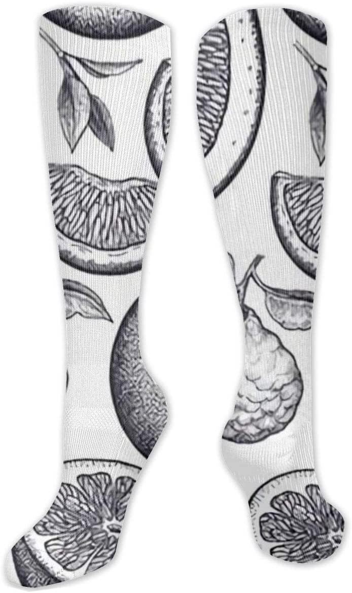 Compression Sock for Women & Men,Citrus Fruits,Black and White CasualLongKneeHighTubeSocksforRunnning,SoccerAthleticSports,Travel-50cm