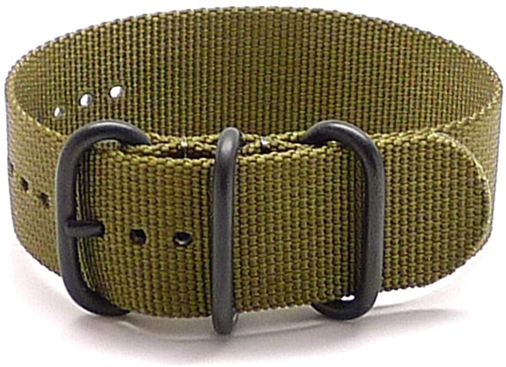 DaLuca Ballistic Nylon Military 1 Piece Watch Strap - Olive (PVD Buckle) : 18mm