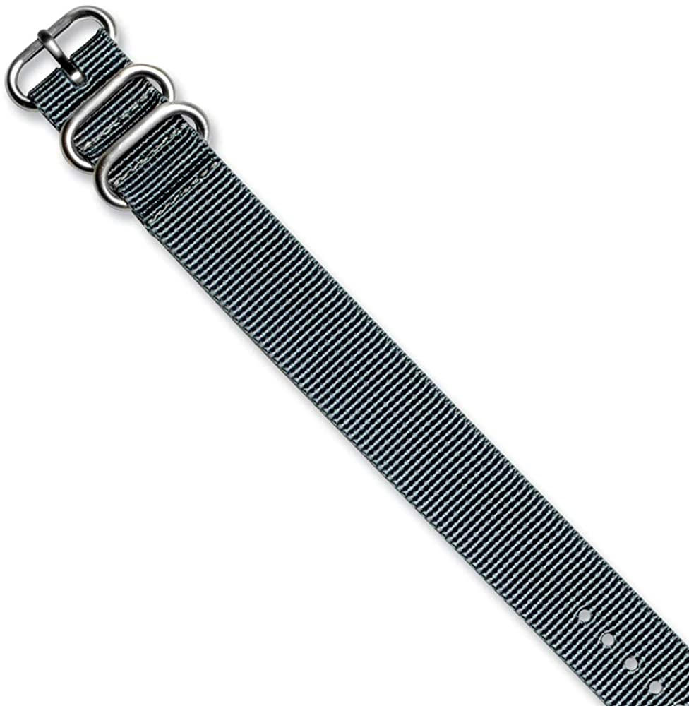 Sonia Jewels 20mm 1-Piece Grey Ballistic Nylon Watch Band 10.5