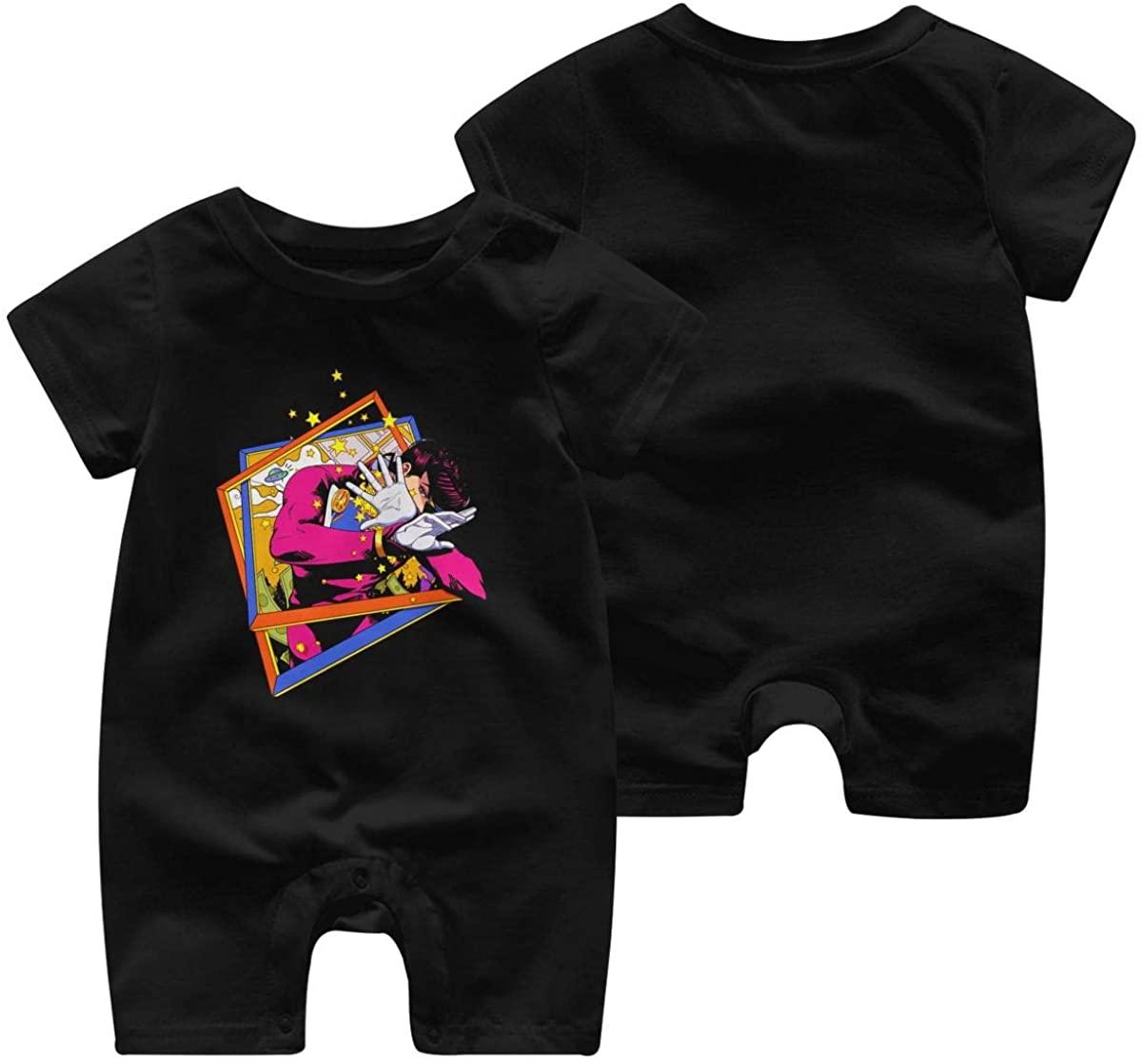 5husihai JoJo's Bizarre Adventure 1-24 Months Boy Girl Baby Short Sleeve Creeper Jumpsuit Black