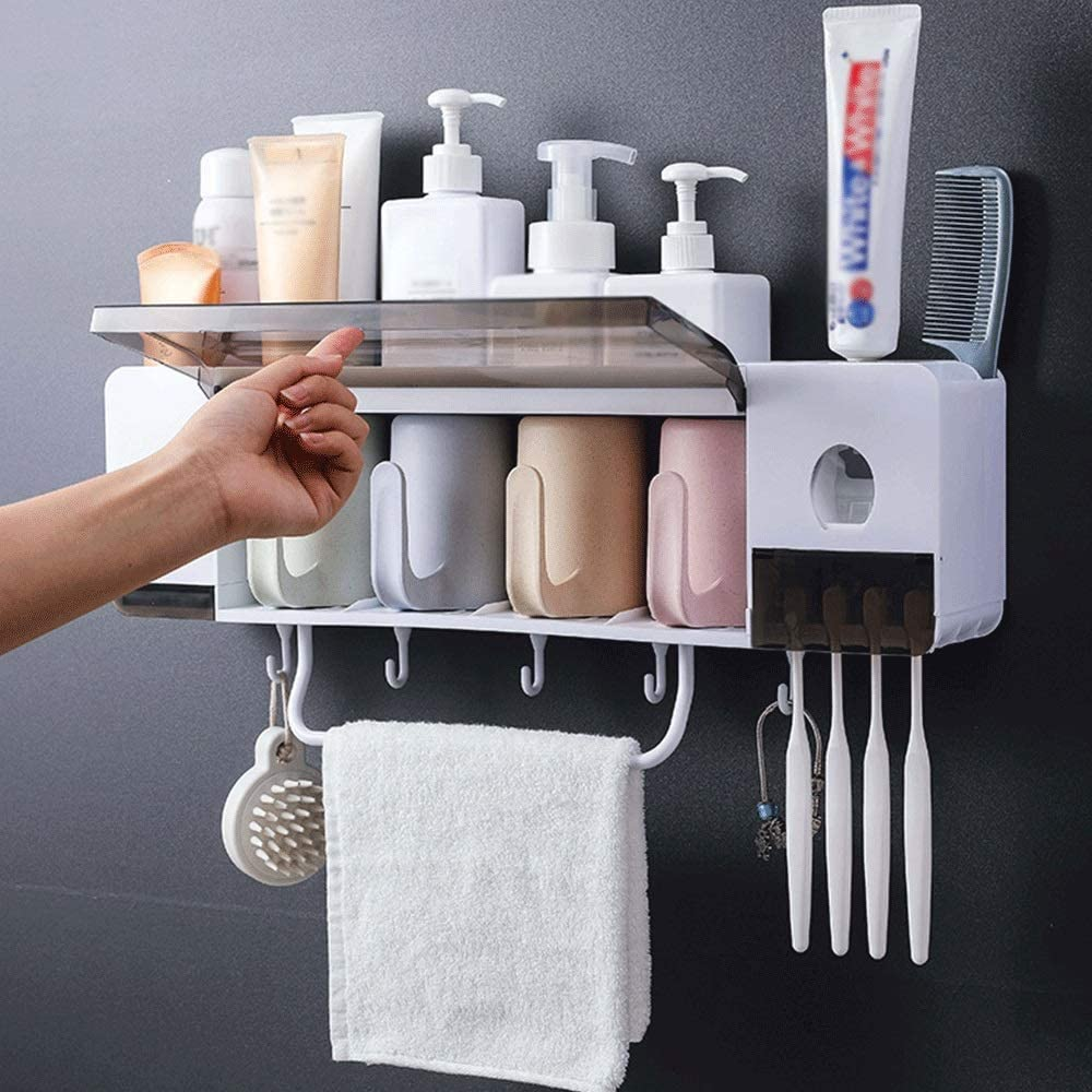 Waitousanqi Toilet Suction Wall Toothbrush Rack Bathroom Rack Cup Set Health and Hygiene Long-Term Use of Bamboo Fiber +pp/48.89.814cm Beautiful and Fashionable