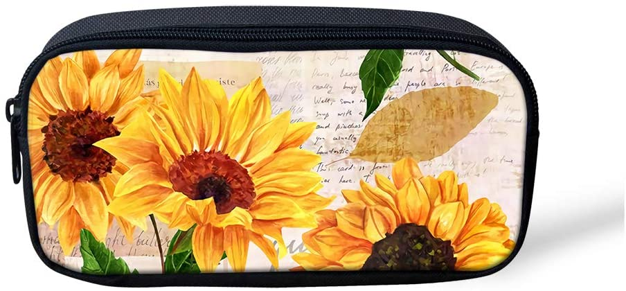 Alemiu Sunflower Pencil Case for Girls School Students Stationery Pouch Zipper Bag Womens Travel Cosmetic Makeup Beauty Bag