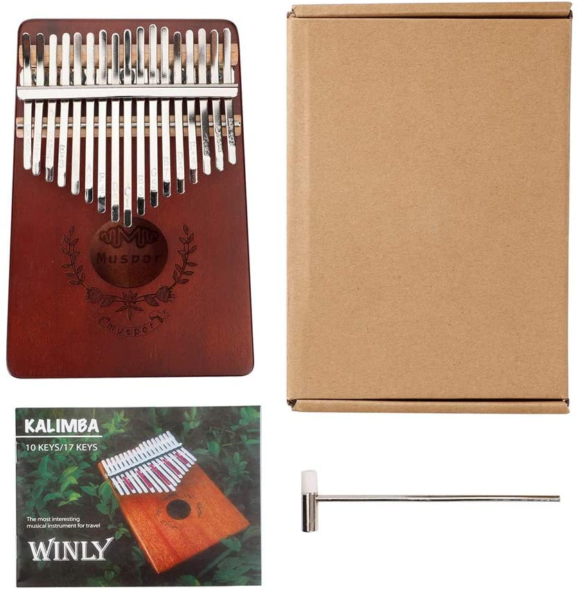 Lvminhm Kalimba 17 Key Thumb Piano, Professional Finger Piano Mahogany Finger Instruments with Study Instruction and Tune Hammer for Kids Adult Beginners