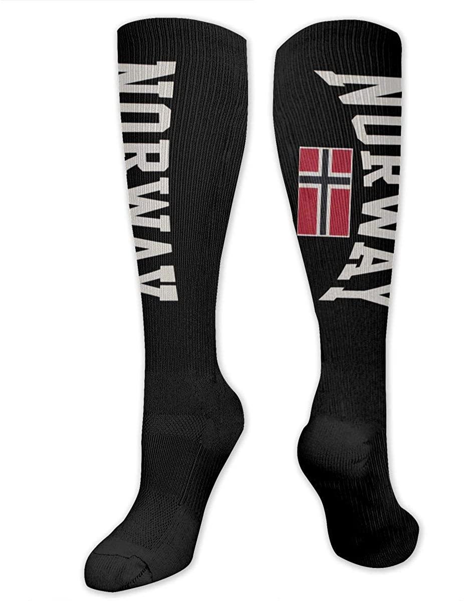Norwegian Flag Athletic Socks Thigh Stockings Over Knee Leg High Socks