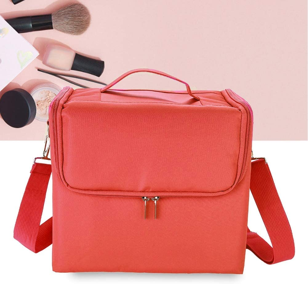 Make Up Bag 11.4210.248.27in,Three Layers Professional Large Capacity Make Up Bag Portable Cosmetic Case Multifunctional Portable Storage Box(Red)