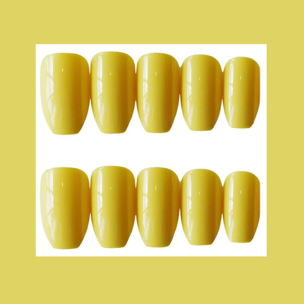 MISUD Ballet Fake Nails Light Yellow Glossy 24Pcs Medium Length Artificial Nail Tips Press on False Nails for Ballerina Salon Art - Eye-catching Canary