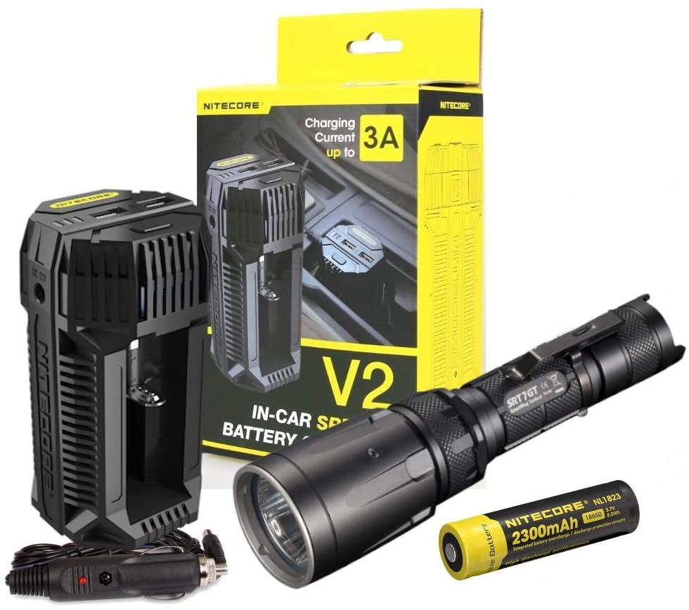 Value Bundle: NITECORE SRT7GT High Output Tactical Flashlight W/Multi-colored LEDs -1000 Lumens with NITECORE V2 In-car Speedy Battery Charger -3A