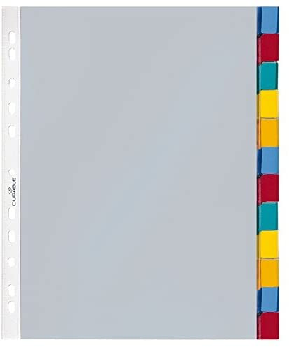 Durable 663319 Punched Pockets Index Set with 12 Divisions - Transparent