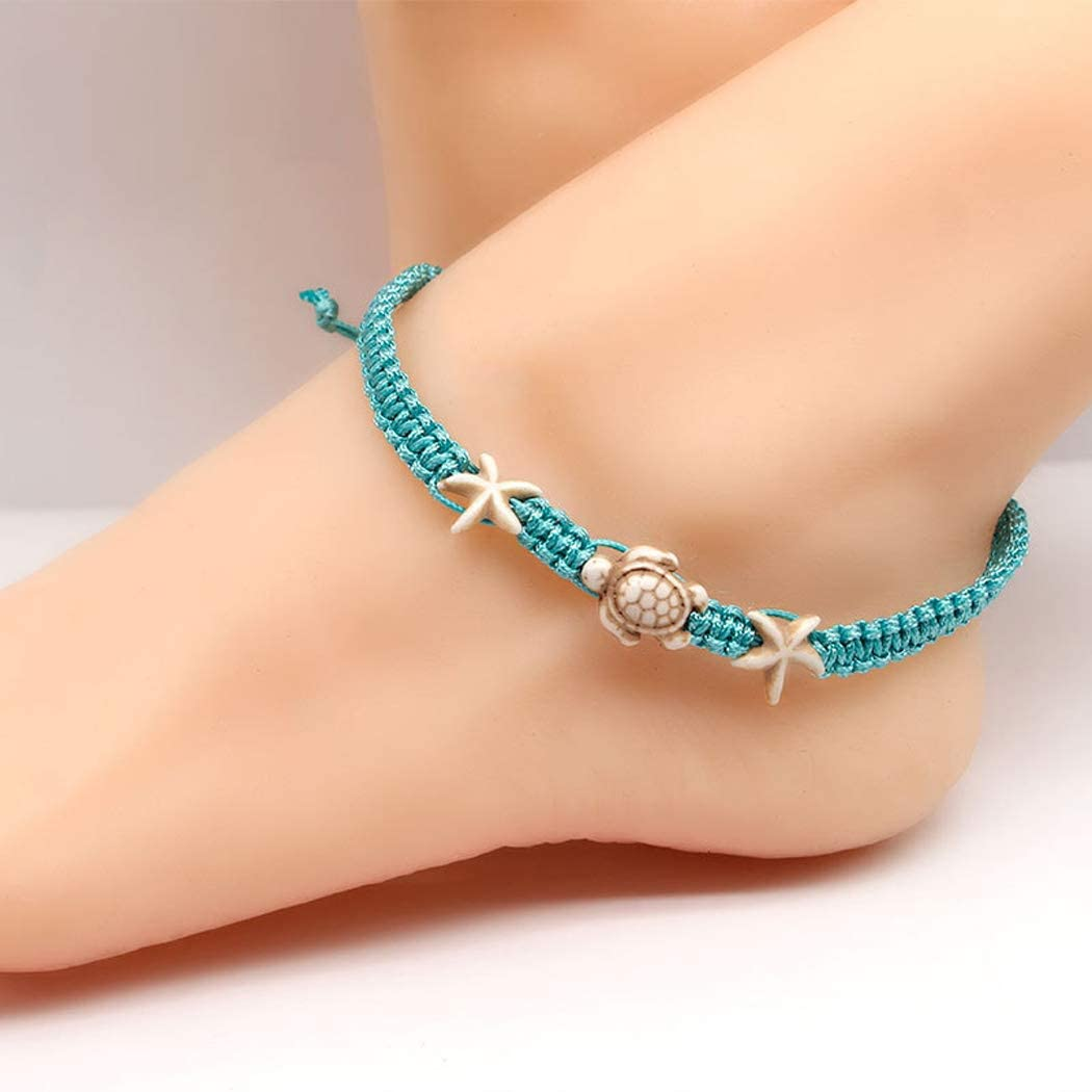 Jovono Boho Starfish Turtle Anklets Blue Braided Rope Anklet Bracelets Fashion Beach Foot Jewelry for Women and Girls