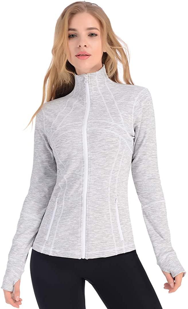 qualidyne Yoga Jacket Run Jacket Women Lightweight Athletic Workout Full Zip Running Track Jacket