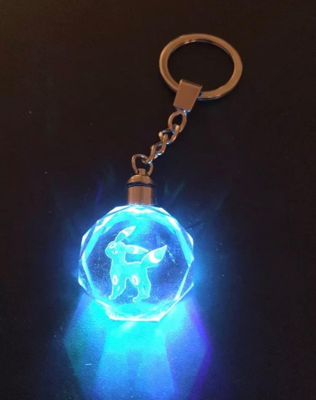 Crystal Pokemon Umbreon LED Keychain K9 Charizard Pikachu Eevee