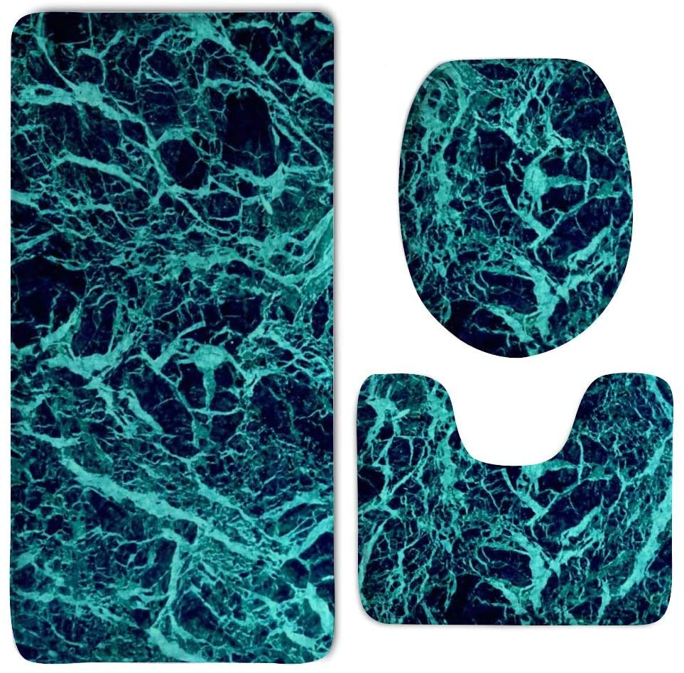NiYoung Bath Mat - 3 Piece Bathroom Rug Set - Chic Marble Turquoise Non Slip Toilet Seat Cover Set - Large Contour Mat - Lid Cover for Men/Women