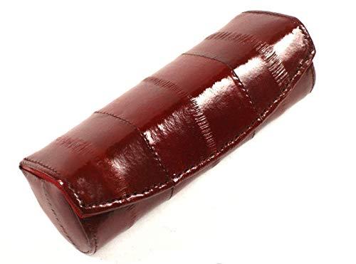 NEW Lipstick Mirror Case Women Premium Button Purse Genuine Eel Skin Leather (red)