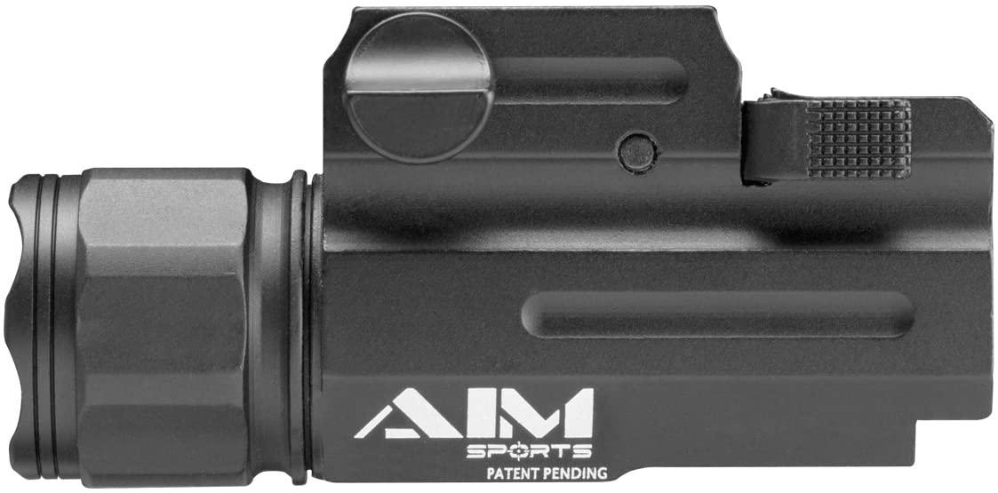 AIM Sports FQ330 Weapons Flashlight, Black, Compact, Clear