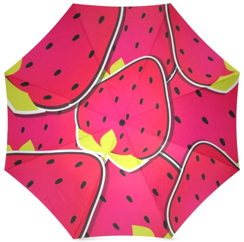 Artsbaba Umbrella Strawberry Rain Umbrella Windproof Compact Travel Umbrella UV Protection Foldable