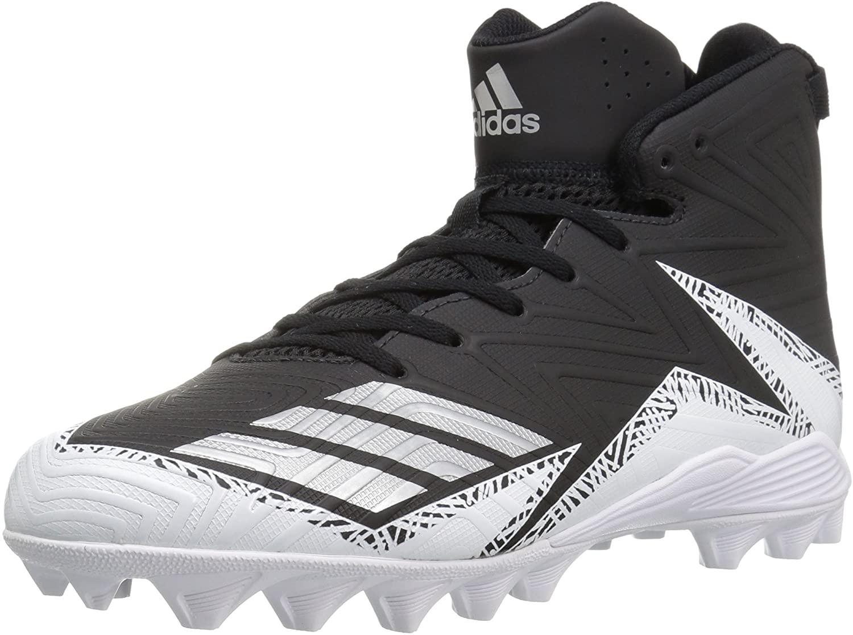 adidas Men's Freak X Carbon Mid Football Shoe, Black/Metallic Silver/White, 7.5 Medium US
