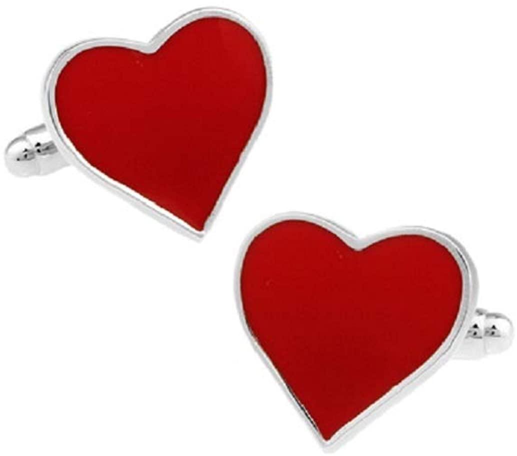 MRCUFF Heart Engagement Valentines Day Red Pair Cufflinks in Presentation Gift Box & Polishing Cloth