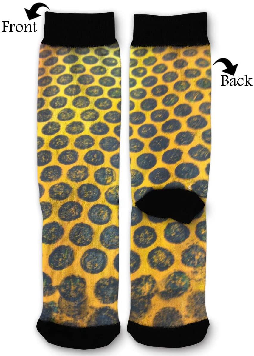 HAIDILUN Vintage Black Dots Gold Background Casual Anti Slip Socks Novelty Ankle Socks Color Stocking for Women Men