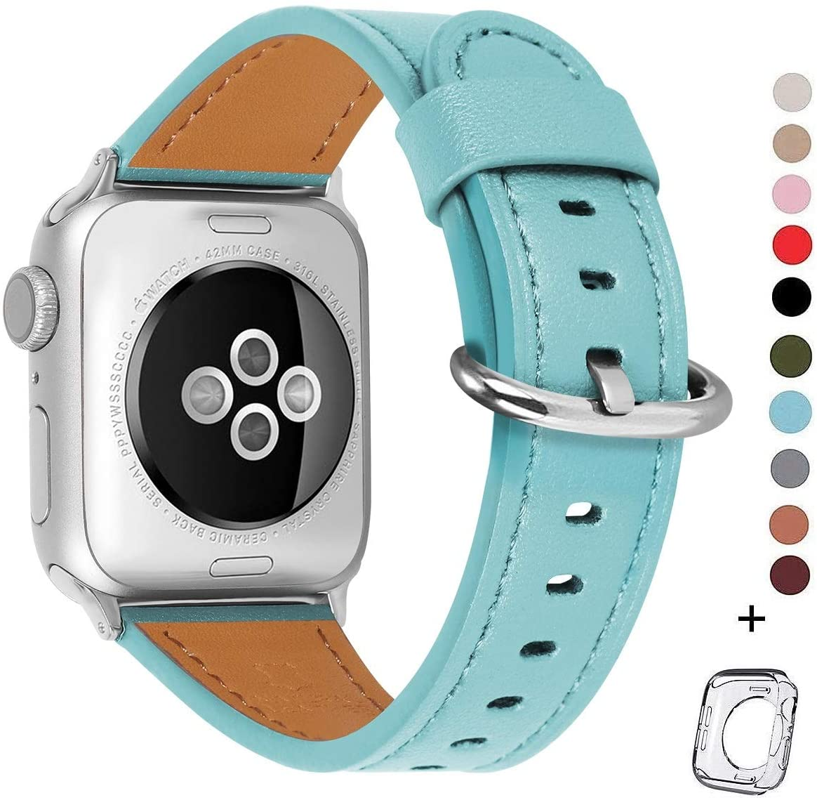 HUAFIY Compatible for apple Watch Band 38mm 40mm women Top Grain Leather Band Replacement Strap iWatch Series 5,Series 4, 3, 2 1,Sport, Edition (Tiffany Blue band+Silver Buckle, 38mm40mm)