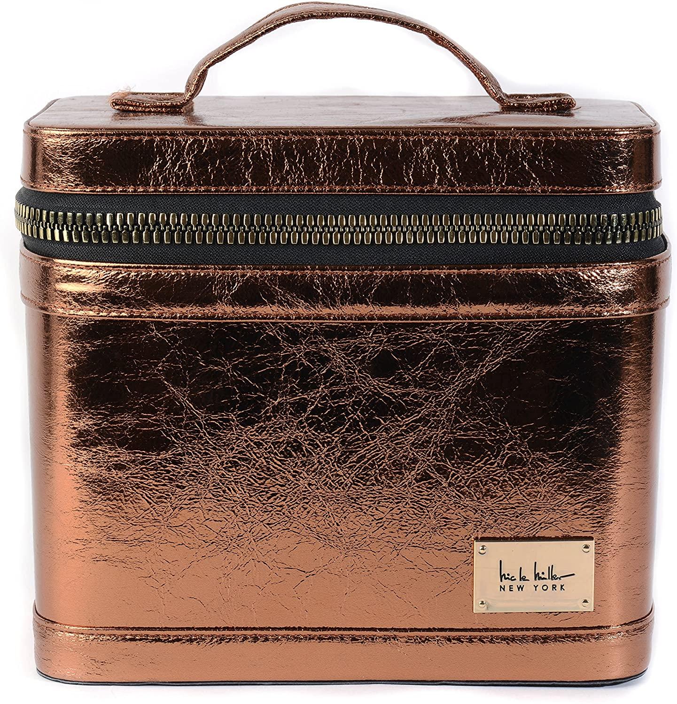 Nicole Miller Metallic Oversized Gold Zipper Makeup Traincase In Bronze For Women And Adults Makeup Case Portable Travel Case