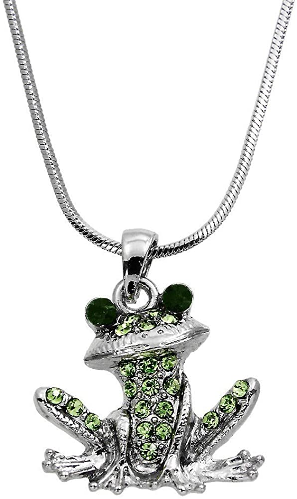 DianaL Boutique Frog Pendant Necklace with 18 Chain Enameled Gift Boxed Fashion Jewelry