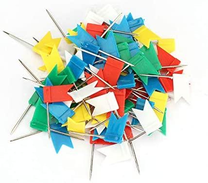 Clips 100pcs Colorful Flags Push Pins Map Pins Metal Bulletin Board Pins Cork Board Paper Drawing Studs Map Thumb Tacks escolares - (Color: Random, CN)