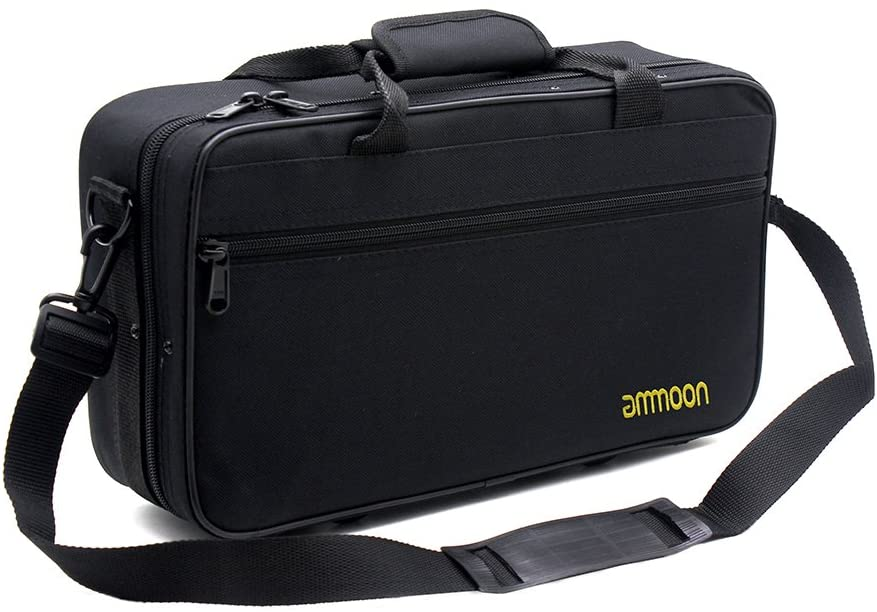 ammoon Clarinet Case Gig Bag Backpack Box Water-resistant 600D Foam Cotton Padding with Adjustable Single Shoulder Strap