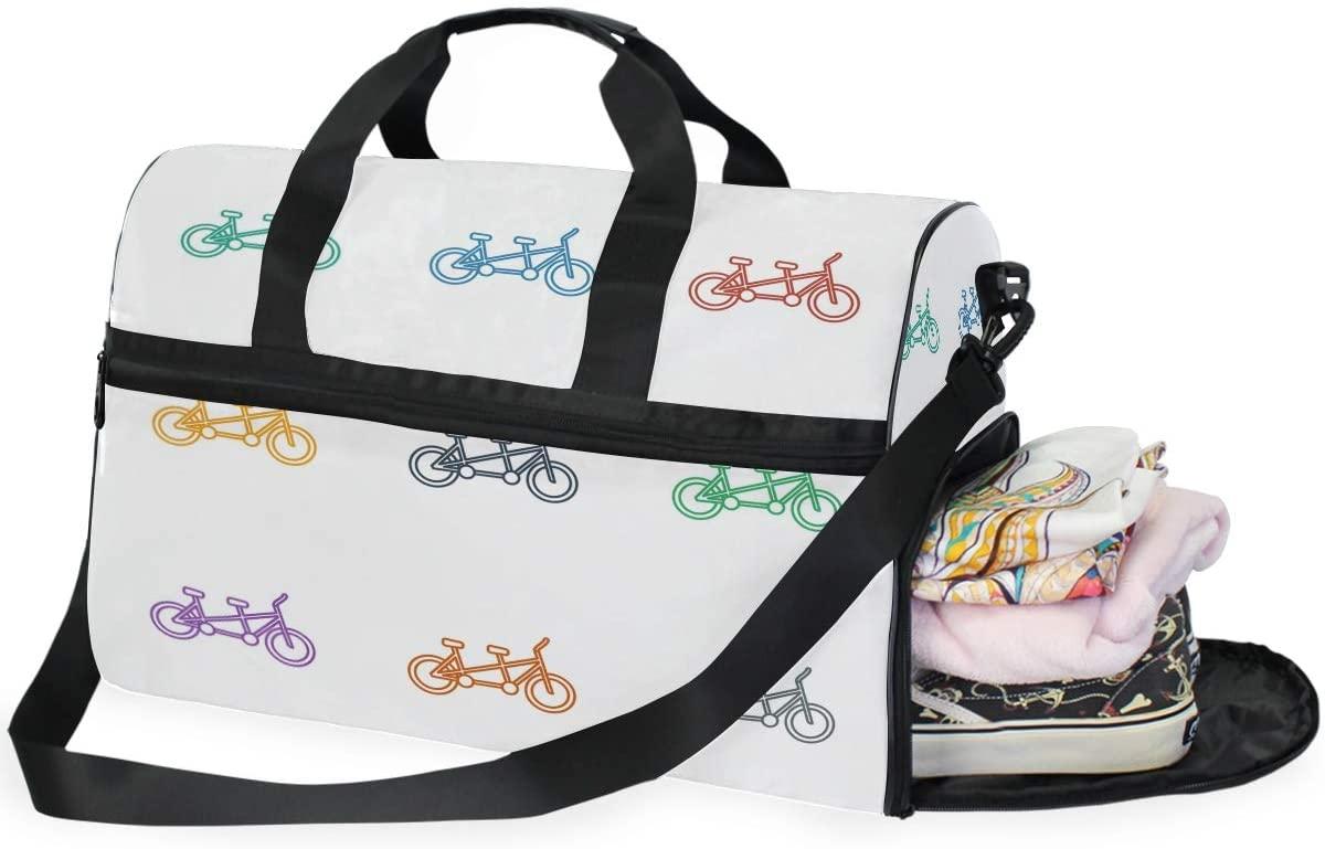 Gym Bag Cute Funny Cartoon Bicycle Bike Icon Large Duffle Weekender Bag for Women Men Travel Overnight