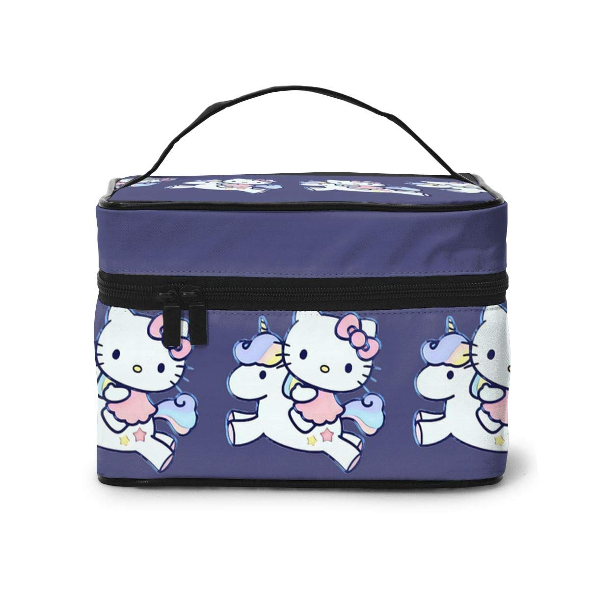 Makeup Bag, Hello Kitty with Unicorn Travel Portable Cosmetic Bag Large Pouch Mesh Brush Organizer Toiletry Bag for Women Girls