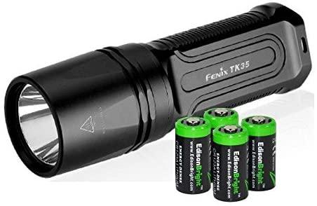 FENIX TK35 2015 version 960 Lumen CREE XM-L2 U2 LED Tactical Flashlight with 4 X EdisonBright CR123A Lithium batteries, Holster & Lanyard bundle