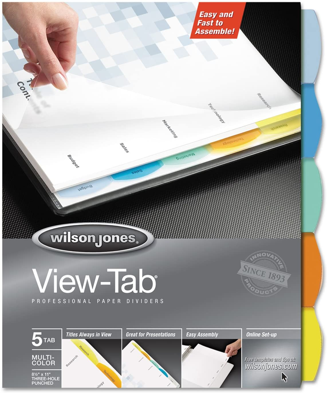Wilson Jones 55964 View Tab Paper Dividers, 5-Tab, 8-1/2-Inch x11-Inch, Multi