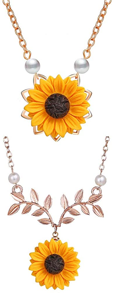JczR.Y Pearl Sunflower Necklace Pendant Simple Boho Resin Flower Daisy Clavicle Chain Necklace for Women Girl Sweet Leaf Choker Fashion Jewelry 2Pcs/Set