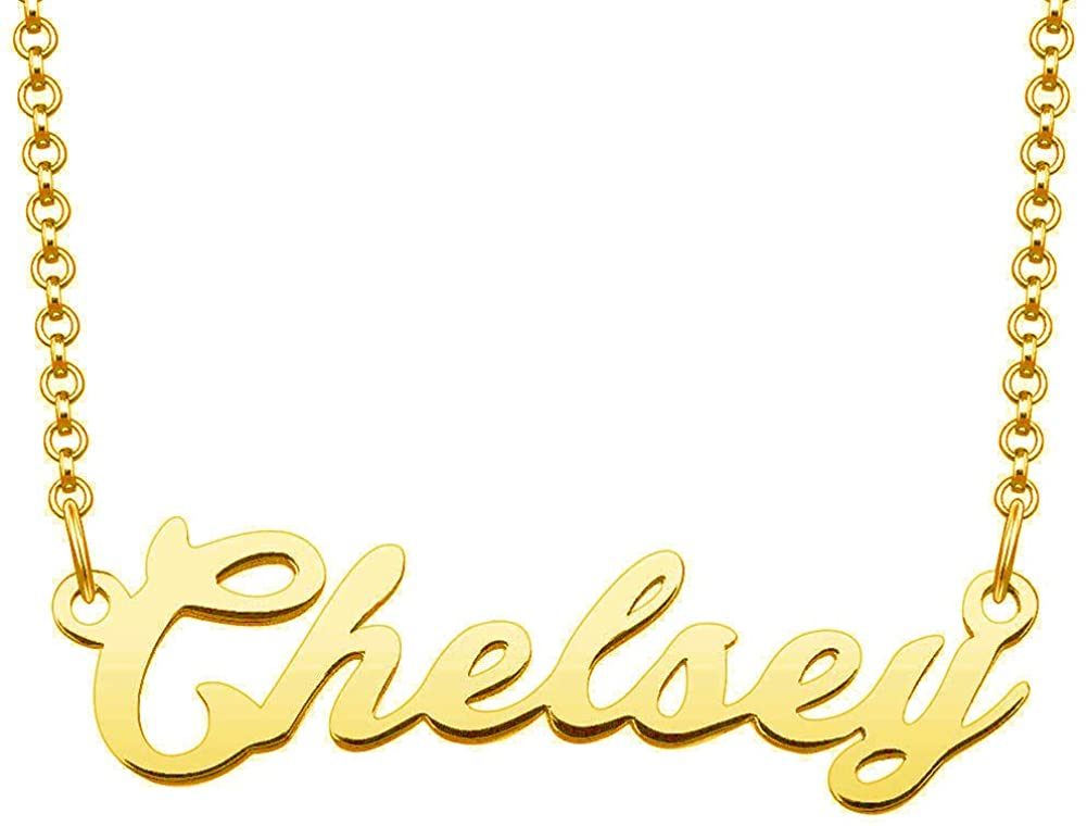 LoEnMe Jewelry Chelsey Name Necklace of Custom Made with Personalized Gift for Women Girls Couple
