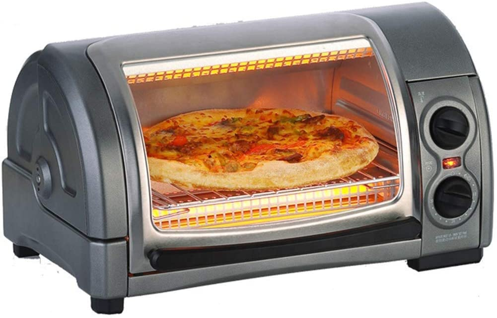 Electric Oven,12L Household Countertop Mini Curved Oven 1300W Power - Infrared Heating, Crumb Tray - Grey