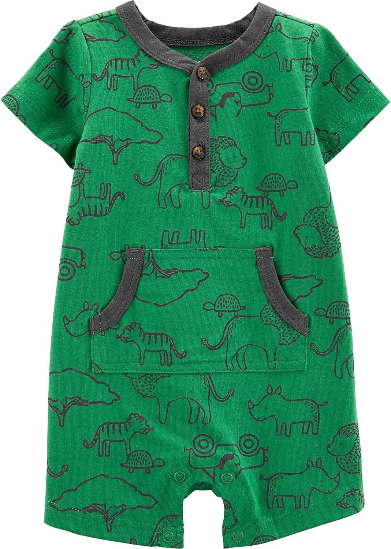 Carter's Child of Mine Short Sleeve One Piece Romper Green, 0-3m