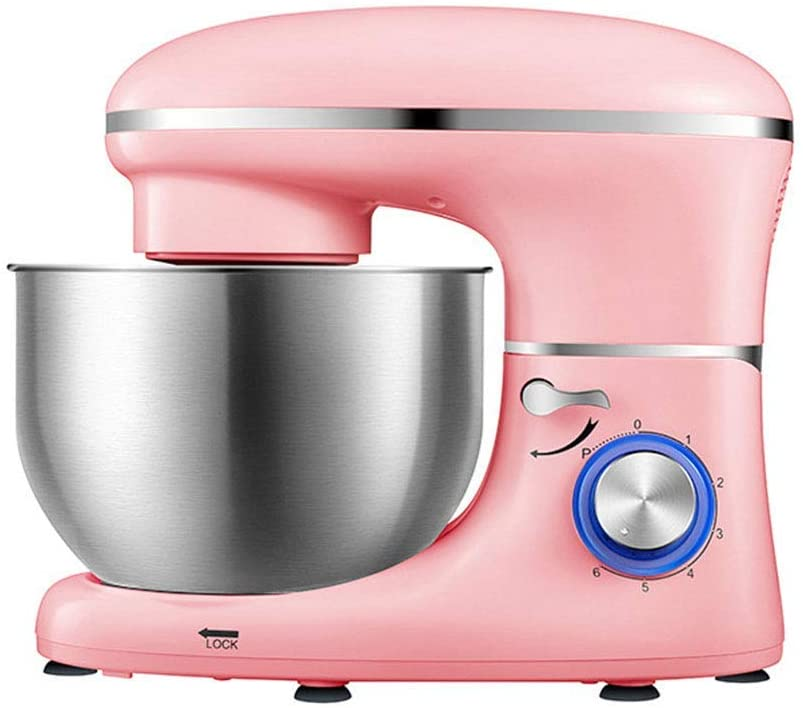 LEILEI Stand Mixer,Dough Mixer with 6 L Stainless Steel Bowl,6 Speeds Tilt-Head Food Mixer,Kitchen Electric Mixer with Double Dough Hooks,Whisk,Beater,Pouring Shield,Electric Food Mixer