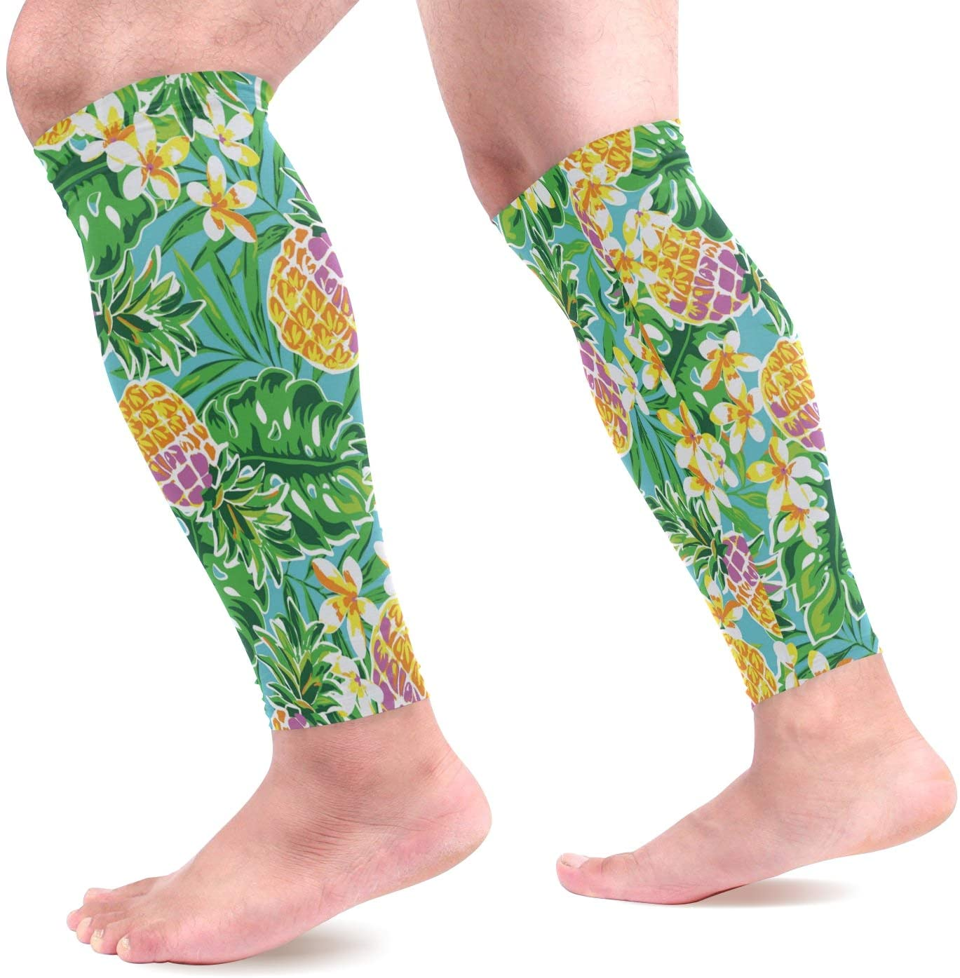 Calf Compression Sleeves Pineapple Leaves Flowers Tropical Green Leg Compression Socks for Runners, Shin Splint, Varicose Vein & Calf Pain Relief - Calf Guard for Running, Cycling, Nurses Women