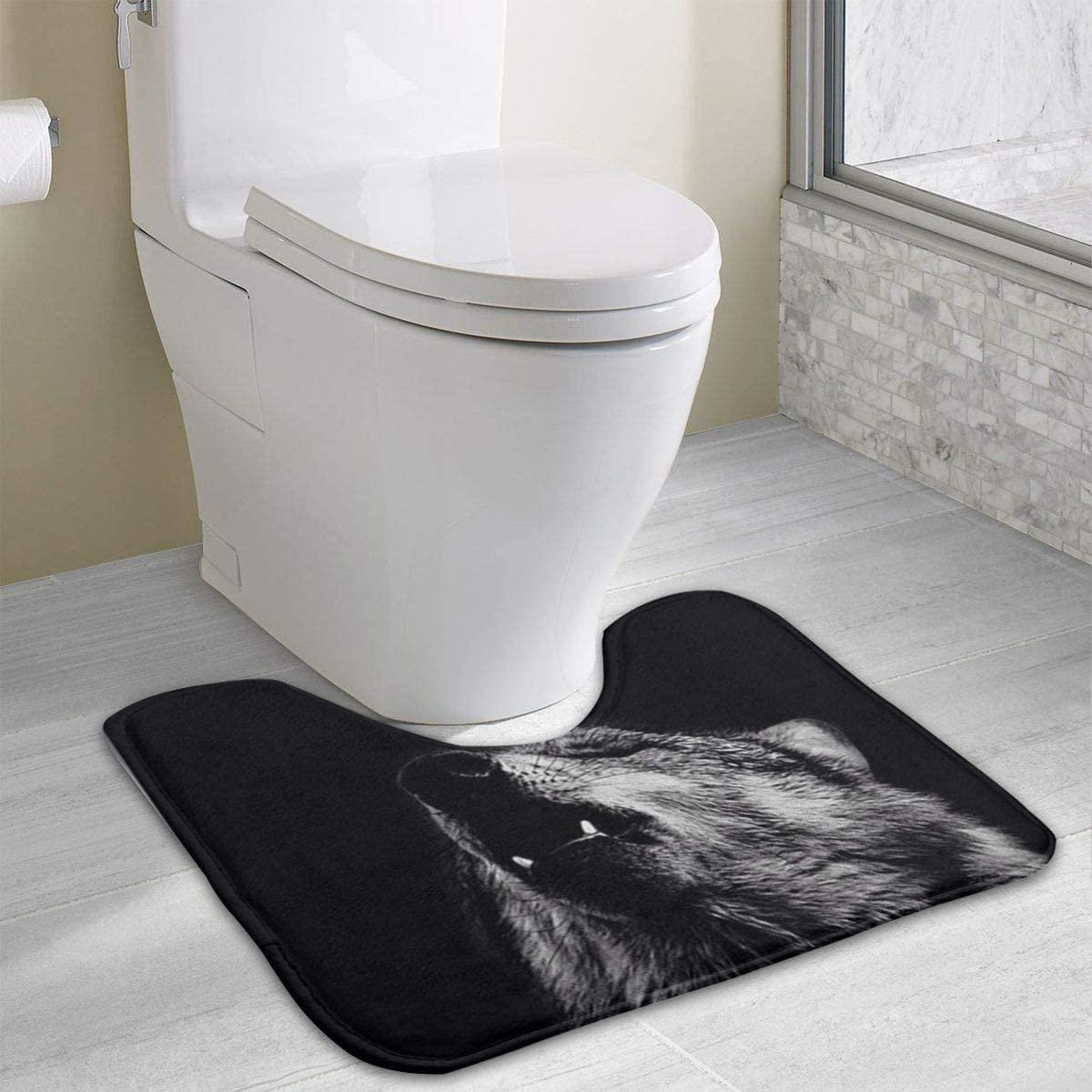 Bathroom Rug, Wolf U-Shaped Non Slip Absorbent Toilet Bath Floor Contour Doormat Shower Mat Carpet 19.3 X 15.7 Inch