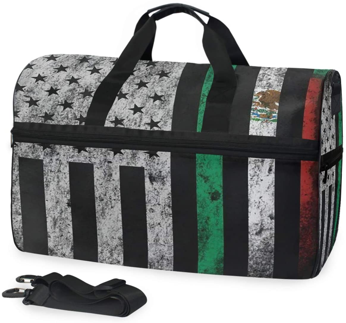 SLHFPX Gym Bag USA And Mexico Flag Combinations Duffle Bag Large Sport Travel Bags for Men Women