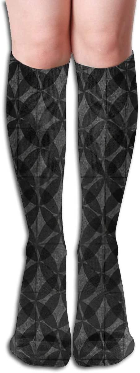 Tiled Vintage Floor,Design Elastic Blend Long Socks Compression Knee High Socks (50cm) for Sports