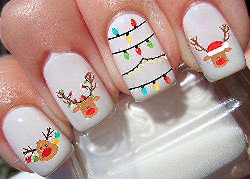 22 Christmas Reindeer 3 Nail Art Decals