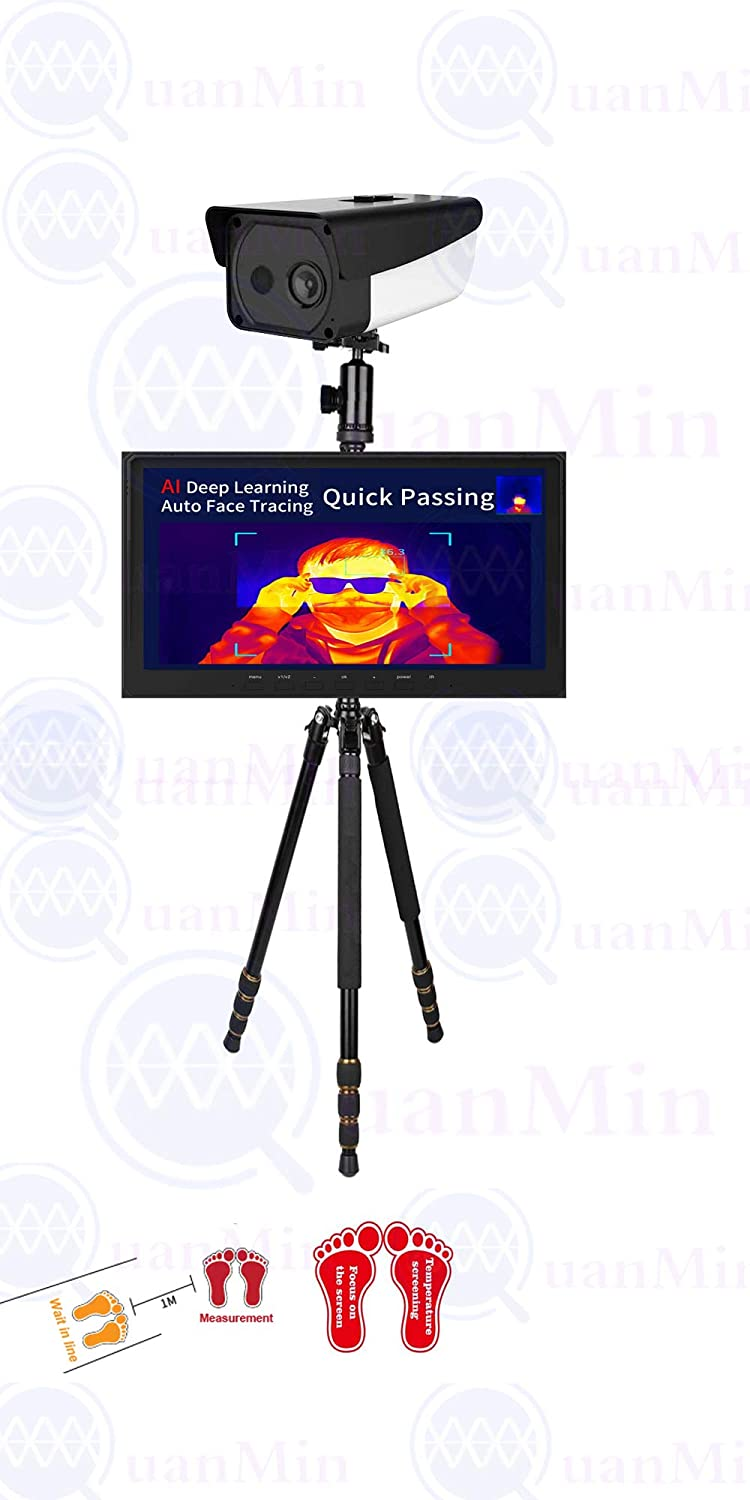 Quanmin AI Intelligent 10 inch Thermal Camera Digital Thermal Image Body Infrared Temperature Fever Screening System with Auto Alarm+Quick Passing Non-Contact Standing Thermometer Bullet Camera