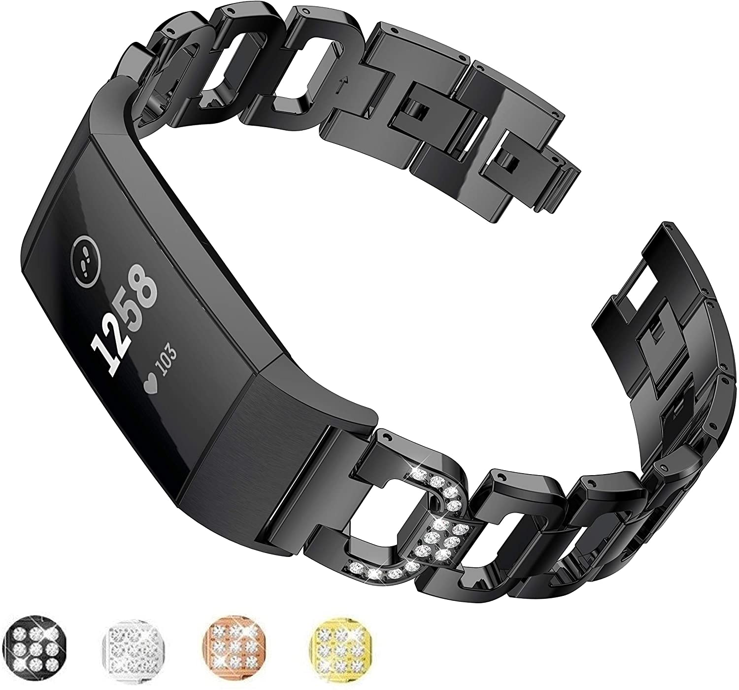 Jiarusig Compatible with Fitbit Charge 3 Bands Women, Elegant Stainless Steel Metal Replacement Bracelet Wristband X-Link Sport Smart Watch Strap + Bling Crystal Rhinestone Diamond for Fitbit Charge 3