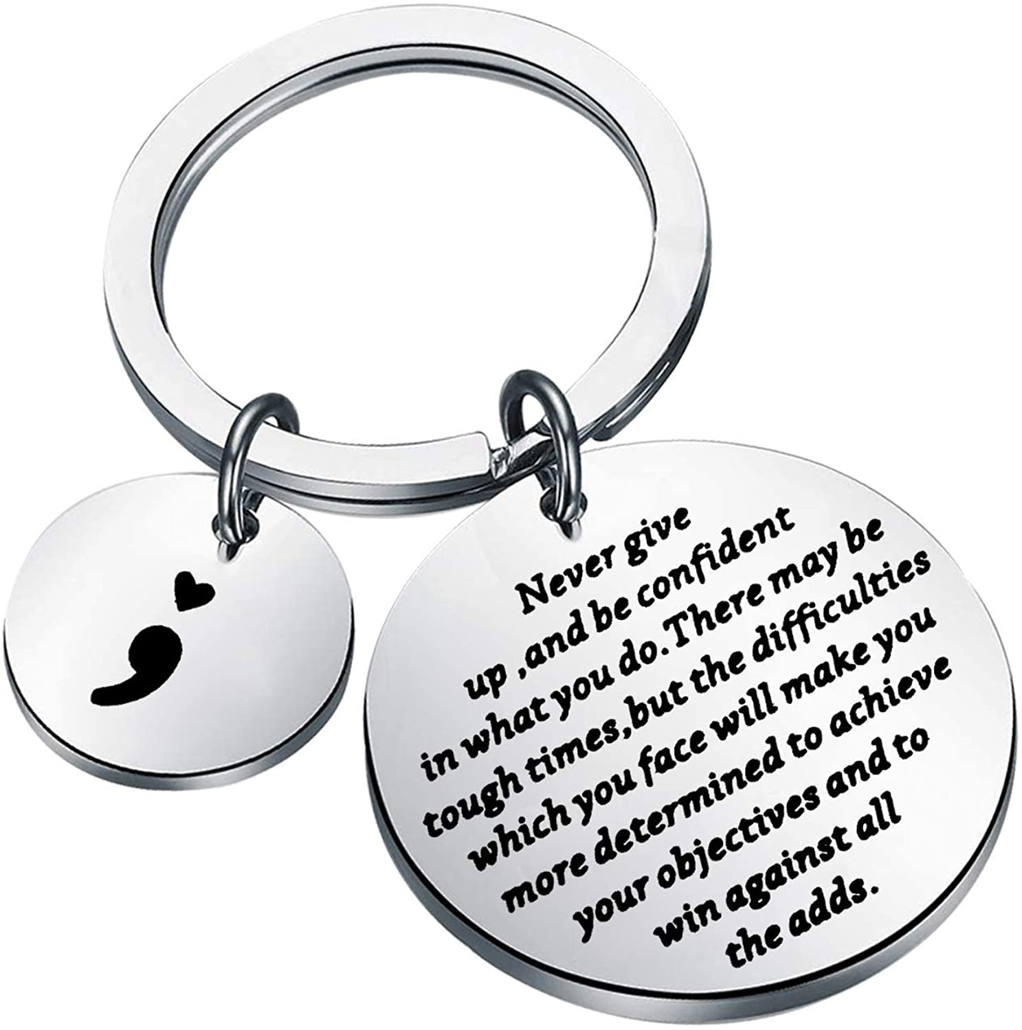 AKTAP Semicolon Keychain Mental Health Awareness Suicide Awareness Gift Never Give Up and Be Confident in What You Do Inspirational Semicolon Jewelry