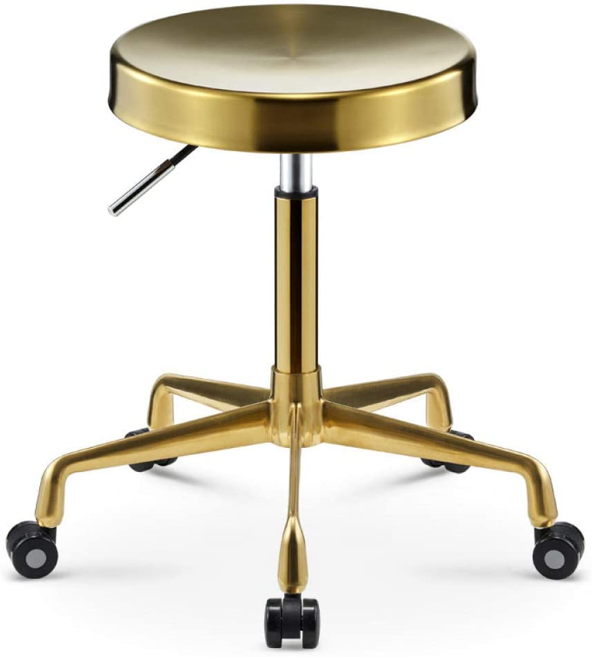 Drafting Stool on Wheel,Sadle Stool with Yellow Stainless Steel Seat,Adjustable Height 40-54 cm,Supported weight 160 Kg,Saddle Stool Rolling Ergonomic Swivelfor Kitchen Dressing Stool Counter Stool W
