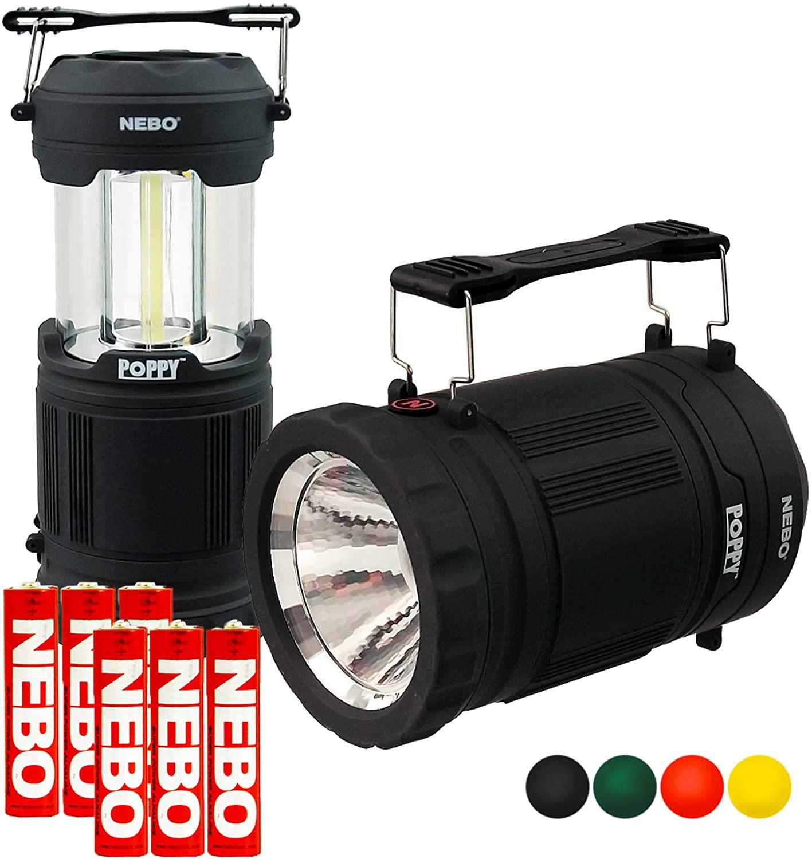 NEBO Poppy Lantern 300 Lumen LED Spot Light Flashlight Pop-Up Bundle with 3x Extra Nebo AA Batteries (Black)