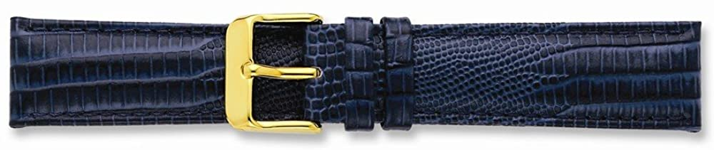 Sonia Jewels 14mm Navy Teju Liz Grain Leather Gold-Tone Buckle Watch Band 6.75